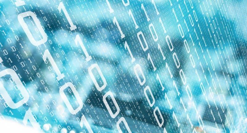 Fondo astratto di tecnologia delle cifre binarie del computer illustrazione di stock