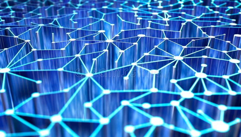 Fondo astratto di tecnologia di rete 3D illustrazione di stock
