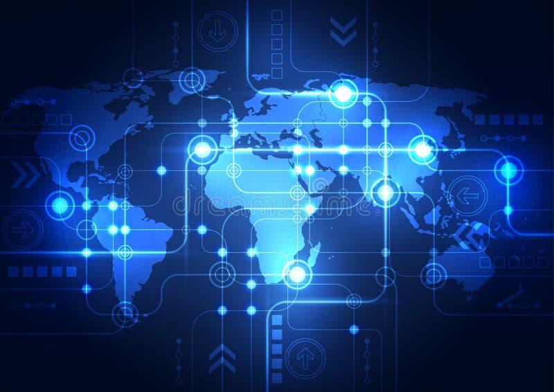 Fondo astratto di tecnologia di rete globale, vettore illustrazione di stock