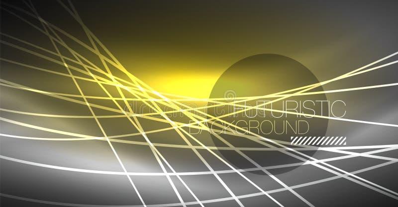 Fondo astratto di tecnologia digitale - progettazione geometrica al neon Righe d'ardore astratte Priorità bassa variopinta di tec illustrazione di stock