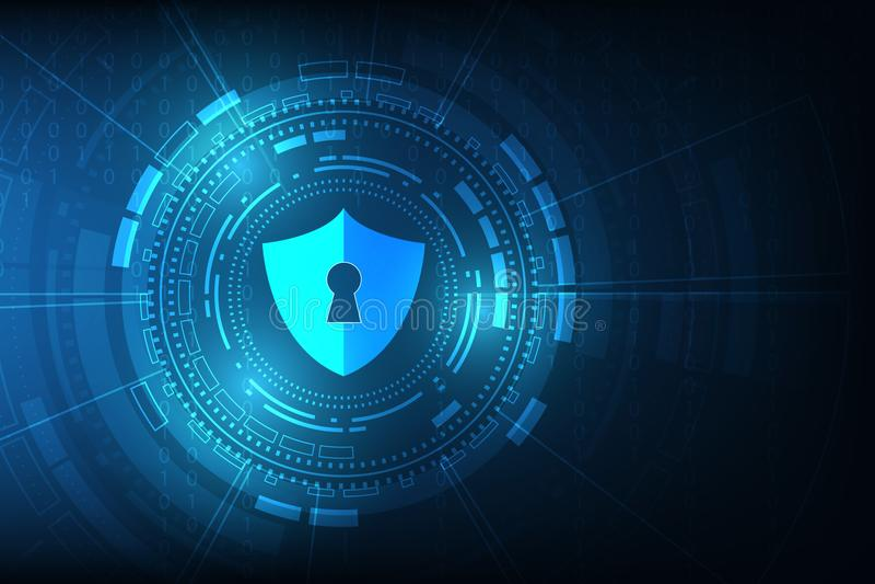 Fondo astratto di tecnologia digitale di sicurezza meccanismo di protezione e segretezza del sistema Illustrazione di vettore illustrazione vettoriale