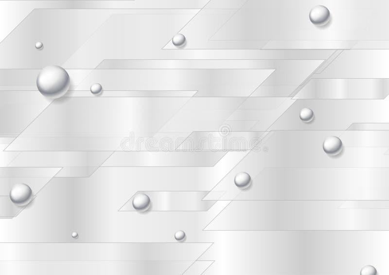 Fondo astratto di tecnologia grigia con le perle d'argento della perla illustrazione di stock