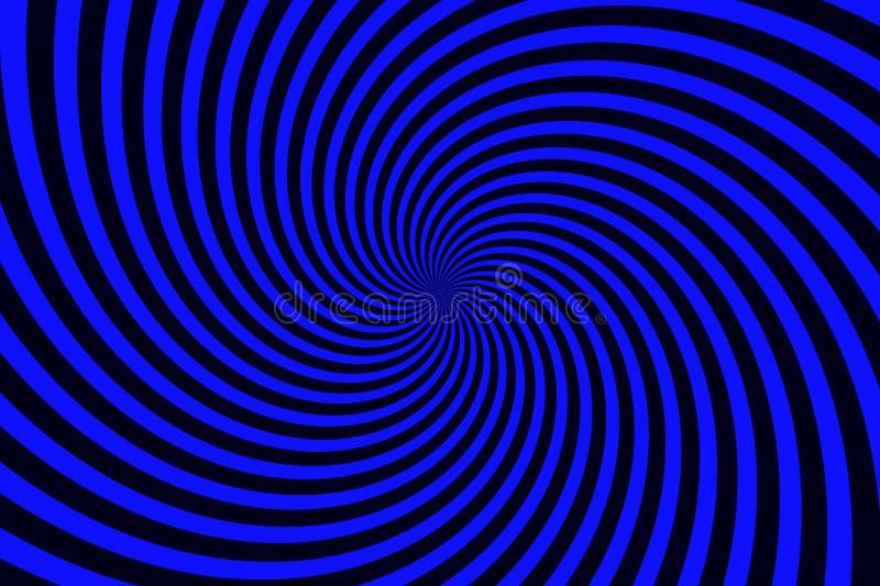 Fondo astratto di turbinio dalle bande a spirale torte blu e nere del raggio Disegno dell'illustrazione illustrazione di stock