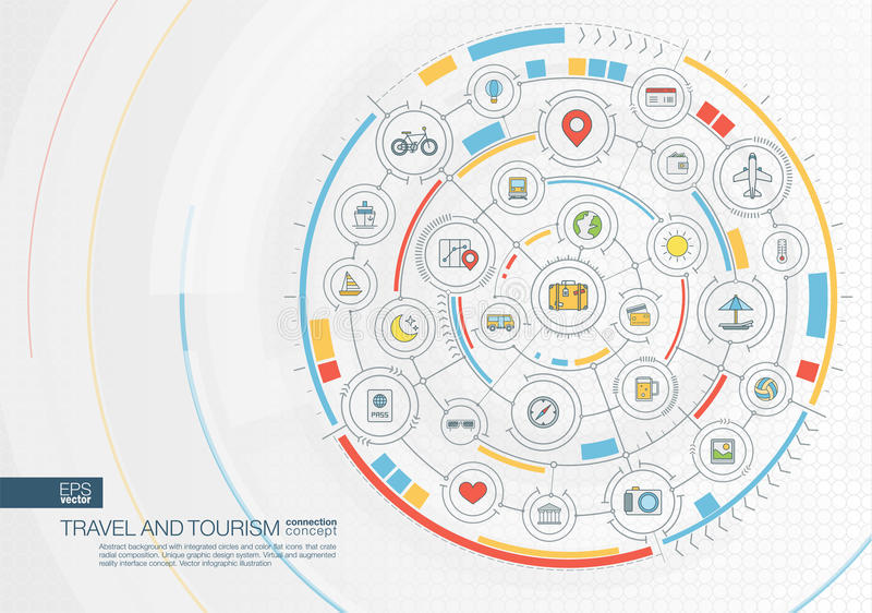 Fondo astratto di turismo e di viaggio Digital collega il sistema con i cerchi integrati, icone piane di colore royalty illustrazione gratis
