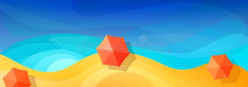 Fondo astratto di vacanza di estate Spiaggia multicolore di paradiso degli ombrelli di spiaggia Mare blu Vista superiore Progetta illustrazione di stock
