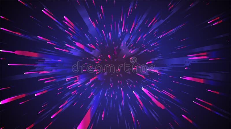 Fondo astratto di velocità dello spazio Vettore dello zoom dello starburst della luce di moto illustrazione vettoriale