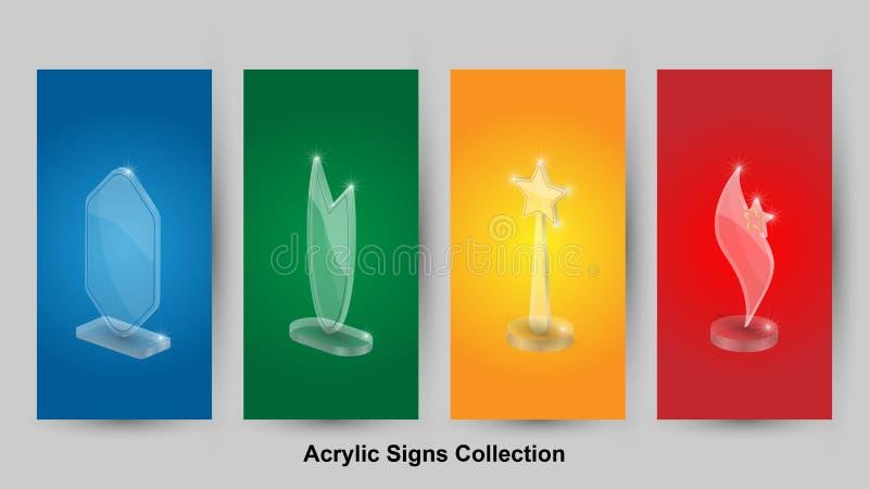 Fondo astratto di vettore di Collectionas dei segni acrilici illustrazione vettoriale