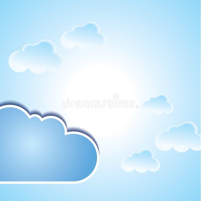 Fondo astratto di vettore composto di nuvole bianche illustrazione di stock