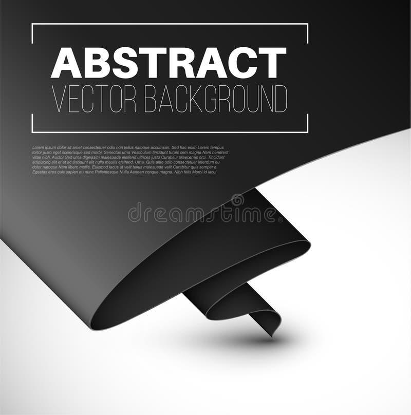 Fondo astratto di vettore con carta nera piegata illustrazione di stock