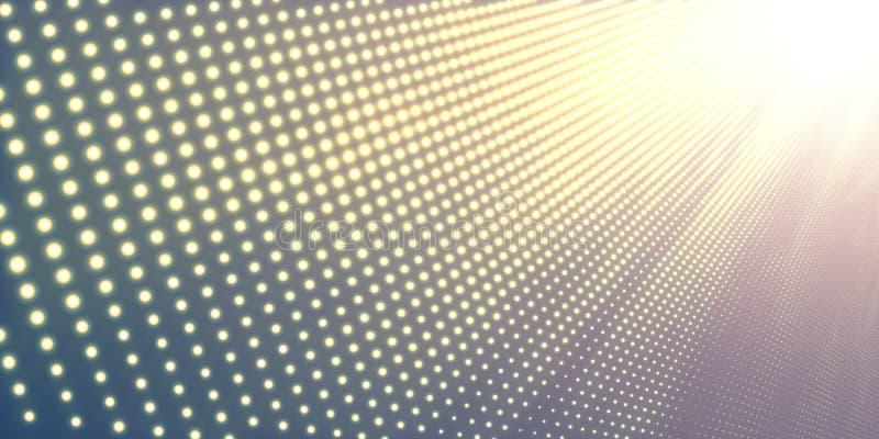 Fondo astratto di vettore con le luci al neon brillanti Insegna al neon con l'immagine astratta nella prospettiva Particelle d'ar royalty illustrazione gratis