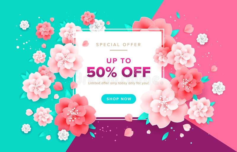 Fondo astratto di vettore del fiore - insegna stagionale di vendite, holid royalty illustrazione gratis