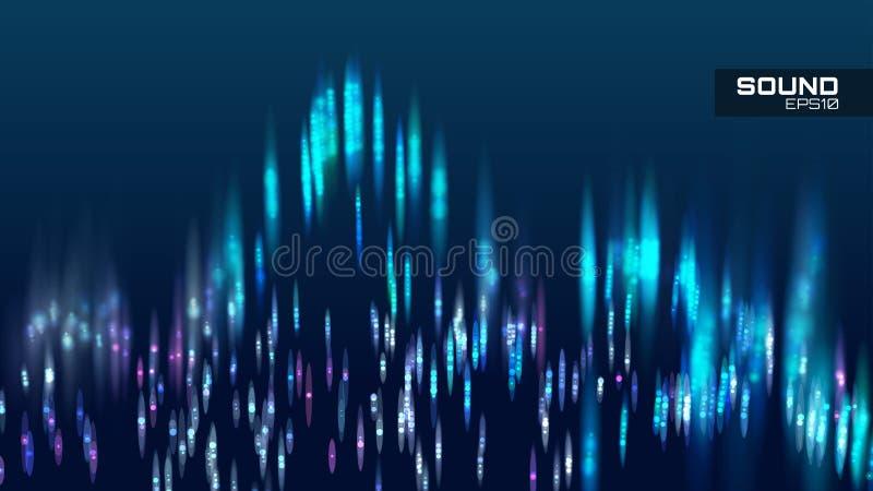 Fondo astratto di vettore dell'onda sonora Soundwave di spettro di aria illustrazione vettoriale