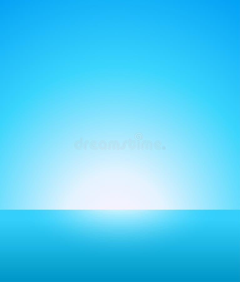 Fondo astratto di vettore di Marine Landscape nautica con cielo blu, l'orizzonte ed il bello oceano illustrazione di stock