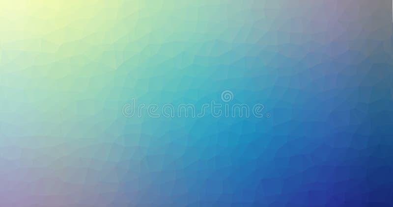 Fondo astratto di vettore di pendenza poli del quadrato di vetro poligonale geometrico triangolare basso blu giallo della sfuocat illustrazione di stock