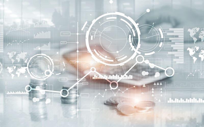 Fondo astratto digitale creativo dell'interfaccia di affari Diagramma ed icona finanziari del grafico del grafico sullo schermo v immagine stock libera da diritti