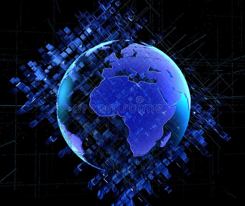 Fondo astratto digitale del circuito di tecnologia dell'illustrazione 3D digitali urbani espellono quadrano il fondo blu astratto illustrazione vettoriale