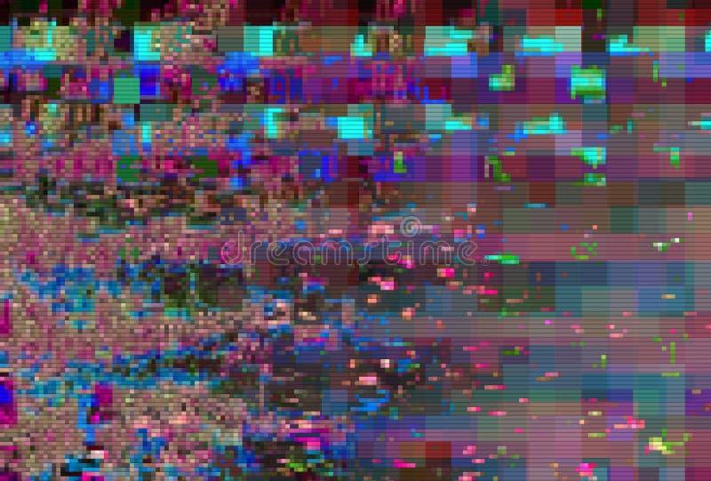Fondo astratto digitale di distorsione dei manufatti di impulso errato, cattiva interferenza illustrazione di stock