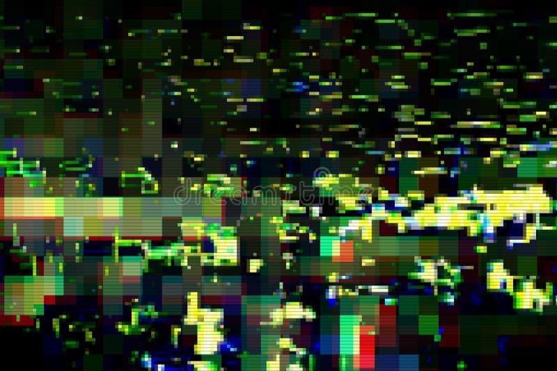 Fondo astratto digitale di distorsione dei manufatti di impulso errato, danno illustrazione vettoriale