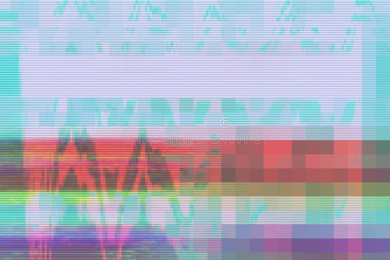 Fondo astratto digitale di distorsione dei manufatti di impulso errato, luce intermittente del canale royalty illustrazione gratis