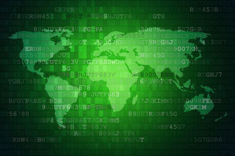 Fondo astratto digitale verde di tecnologia con la mappa di mondo illustrazione vettoriale