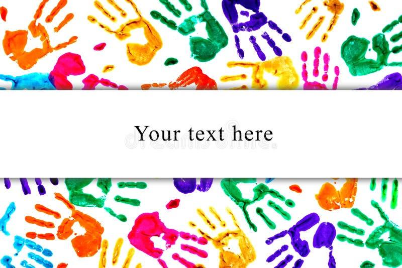 Fondo astratto fatto dai handprints colorati immagine stock