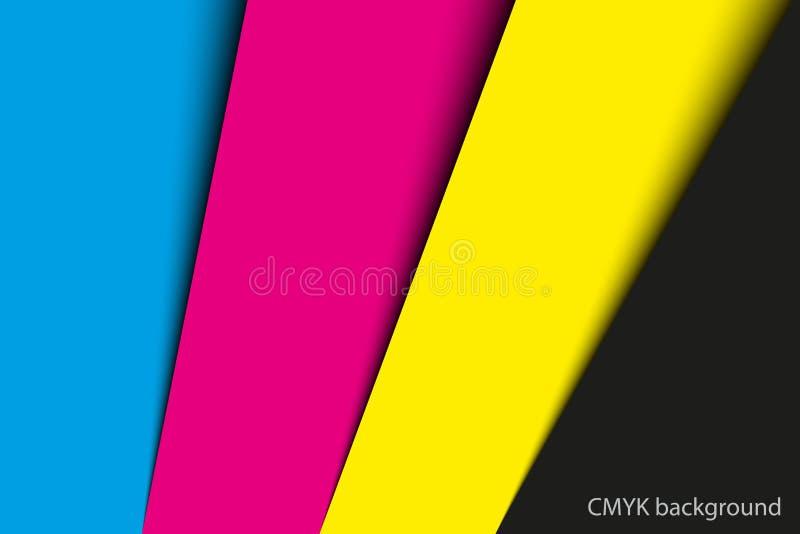 Fondo astratto, fogli di carta nei colori del cmyk illustrazione vettoriale