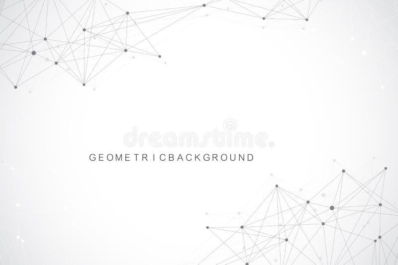 Fondo astratto geometrico con la linea ed i punti collegati Fondo grafico per la vostra progettazione Illustrazione di vettore royalty illustrazione gratis
