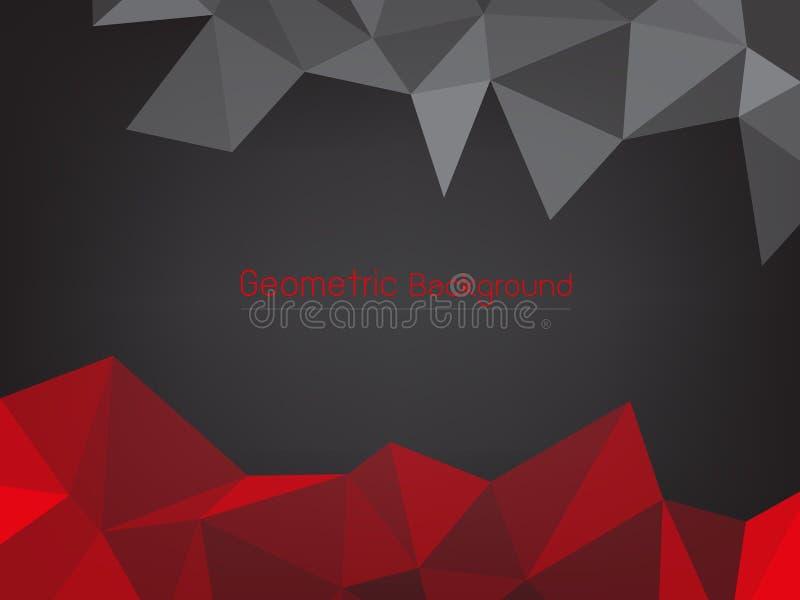 Fondo astratto geometrico del poligono nero e rosso illustrazione di stock