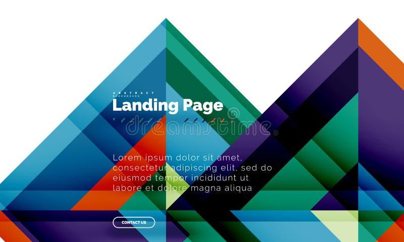 Fondo astratto geometrico di forma quadrata, modello d'atterraggio di web design della pagina royalty illustrazione gratis