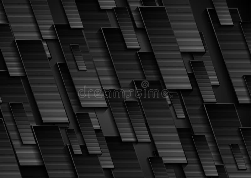 Fondo astratto geometrico di tecnologia nera illustrazione vettoriale