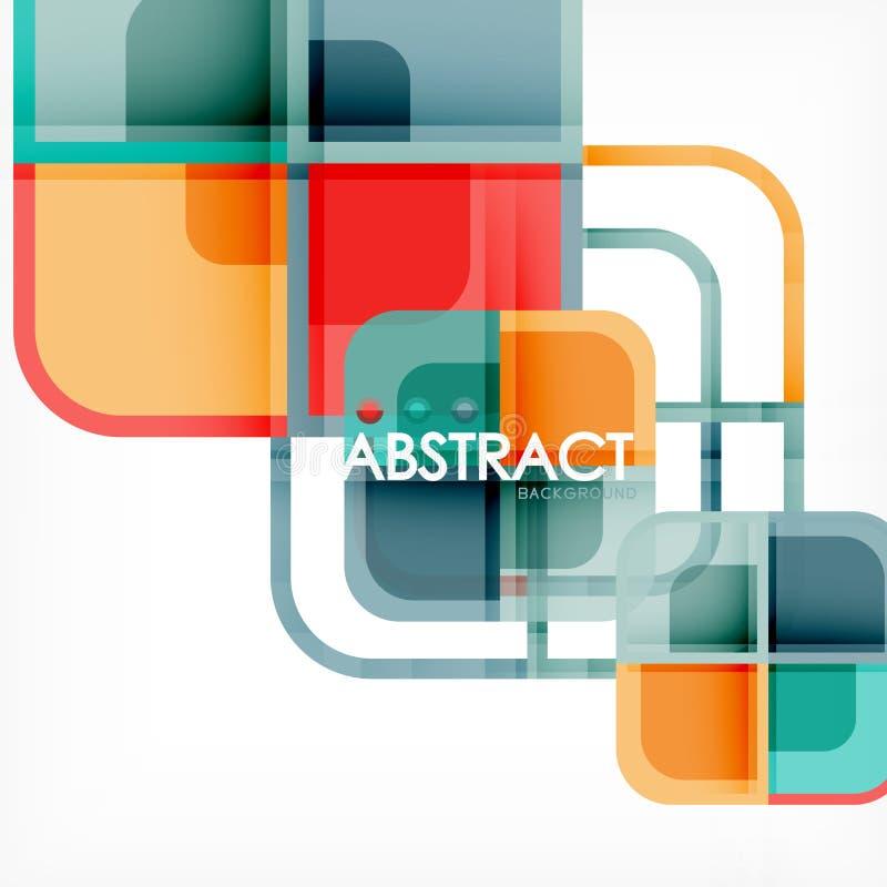 Fondo astratto geometrico quadrato, progettazione di carta di arte per progettazione della copertura, modello del libro, manifest illustrazione vettoriale