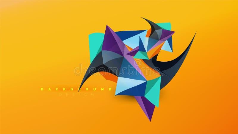Fondo astratto - gli origami geometrici disegnano la composizione in forma, poli concetto di progetto basso triangolare D'avangua illustrazione vettoriale