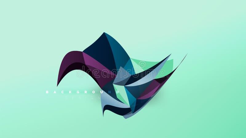 Fondo astratto - gli origami geometrici disegnano la composizione in forma, poli concetto di progetto basso triangolare D'avangua royalty illustrazione gratis