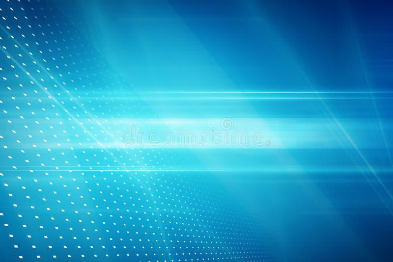 Fondo astratto grafico di tecnologia, raggi luminosi sulla parte posteriore del blu illustrazione vettoriale