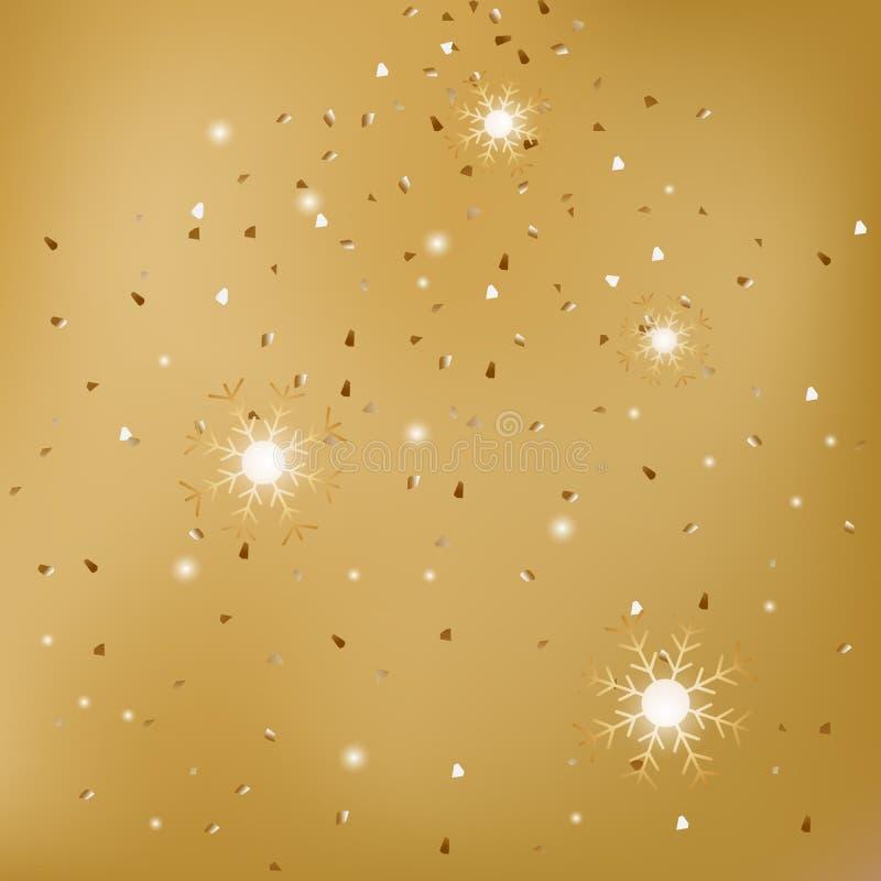 Fondo astratto gredient dell'oro di tema di celebrazione di festa del nuovo anno con il piccolo nastro dell'oro che cade illustrazione vettoriale