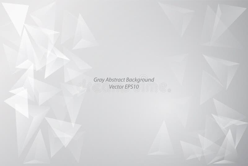 Fondo astratto grigio della trasparenza bianca del triangolo illustrazione di stock