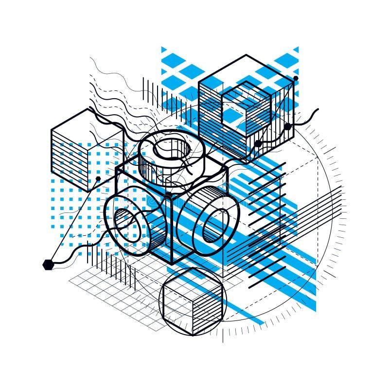 Fondo astratto isometrico con le forme dimensionali lineari, VE illustrazione di stock