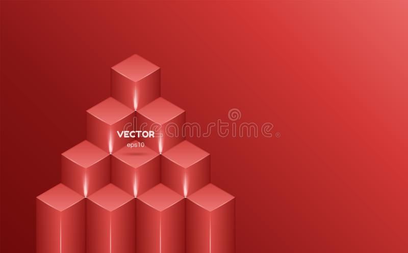 Fondo astratto isometrico di colore rosso sotto forma di quadrati Illustrazione di vettore illustrazione vettoriale