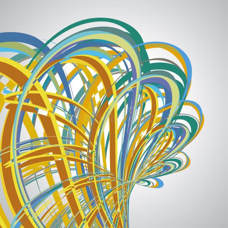 Fondo astratto, linee di turbine, vettore variopinto illustrazione vettoriale