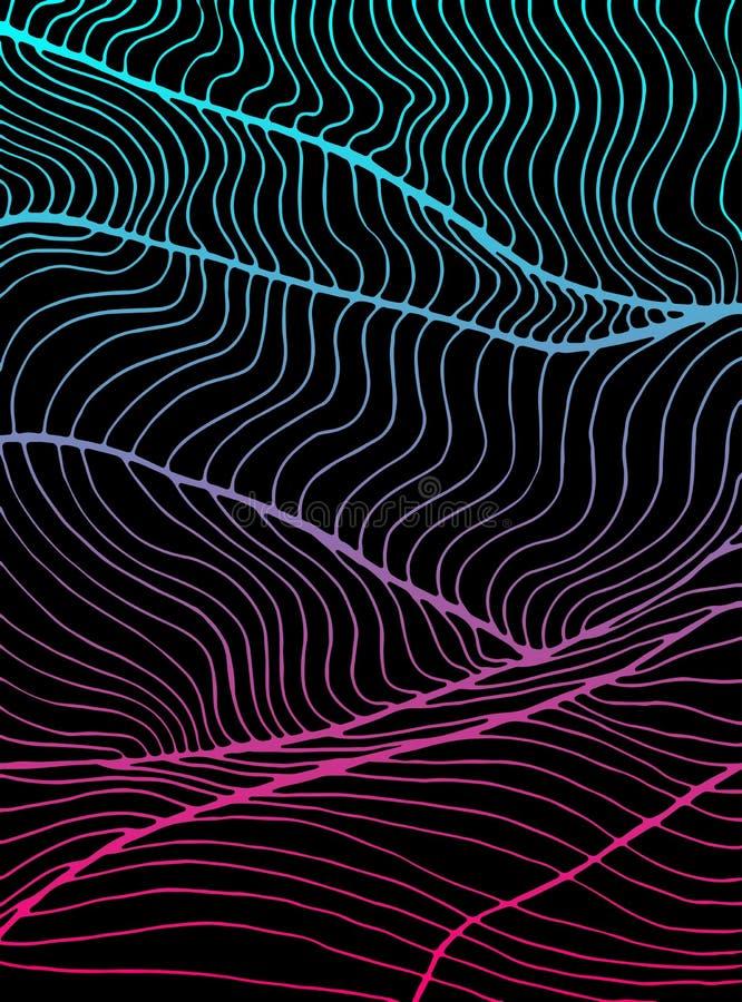 Fondo astratto luminoso d'annata delle onde Profilo blu e rosa di colori di pendenza Struttura decorativa dell'elemento di scarab illustrazione vettoriale