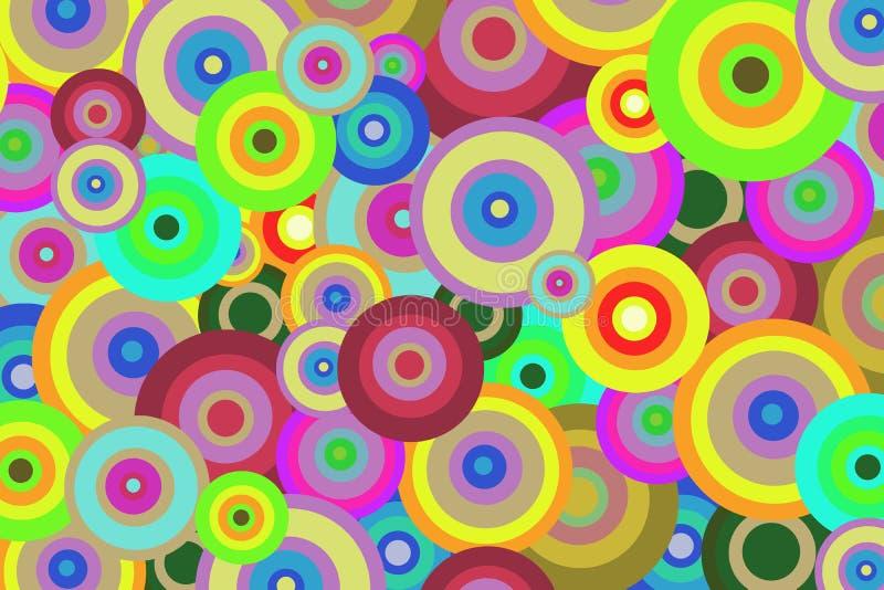 Fondo astratto luminoso dei cerchi colorati per progettazione illustrazione vettoriale
