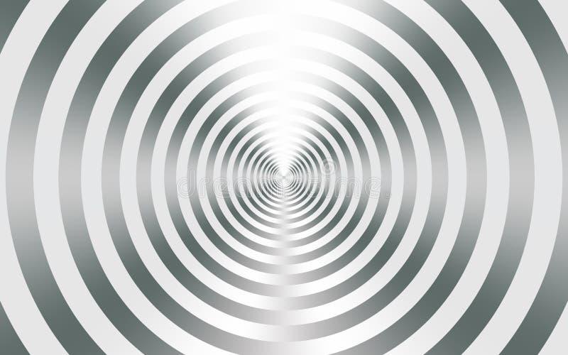 Fondo astratto metallico d'argento con i cerchi concentrici illustrazione vettoriale
