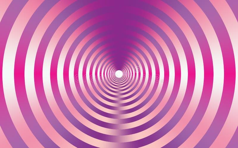 Fondo astratto metallico rosa con i cerchi concentrici illustrazione vettoriale