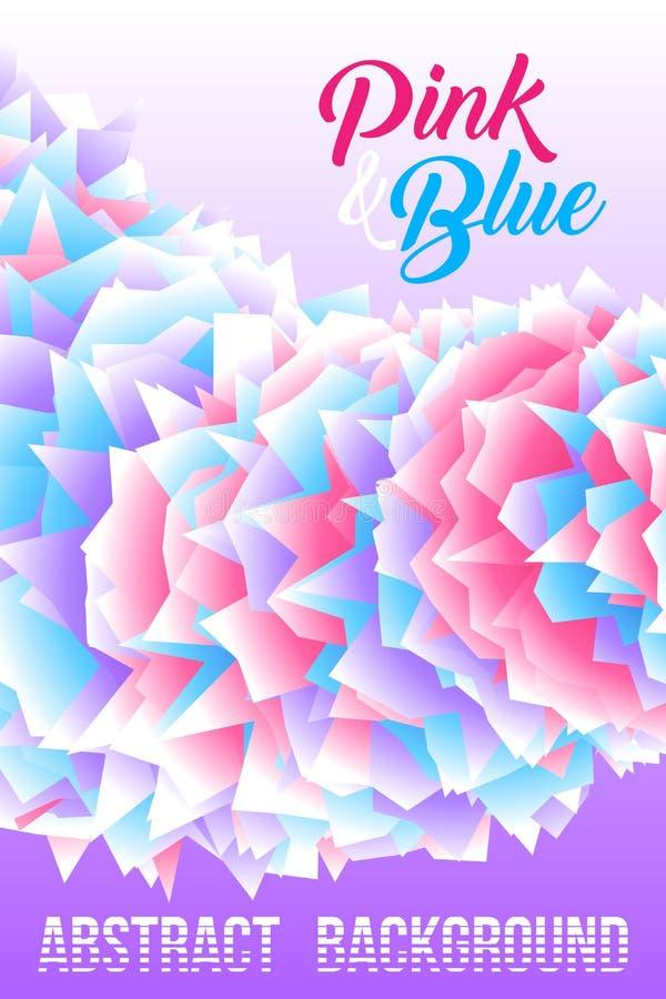 Fondo astratto, modello futuristico del manifesto - rosa, bianco e blu sulla porpora royalty illustrazione gratis