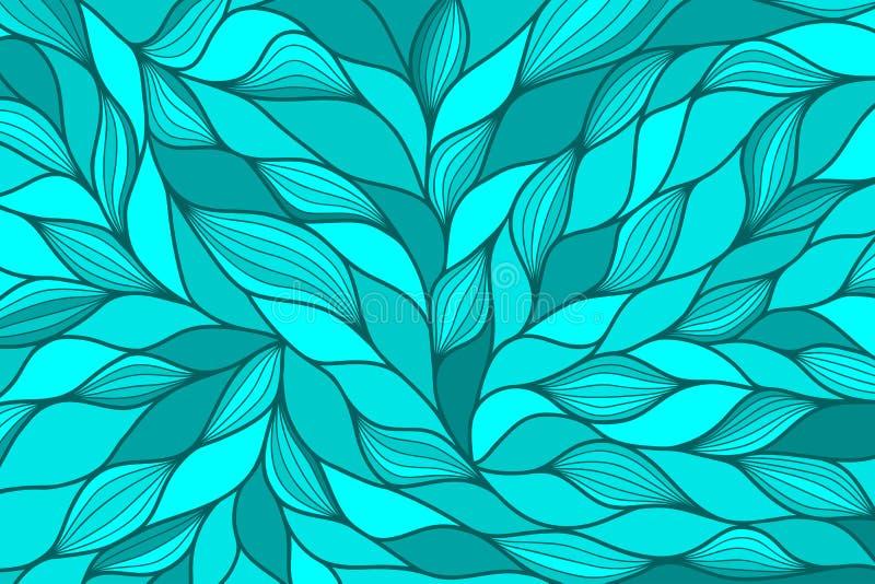 Fondo astratto moderno blu con le onde disegnate a mano Illustrazione di vettore immagine stock