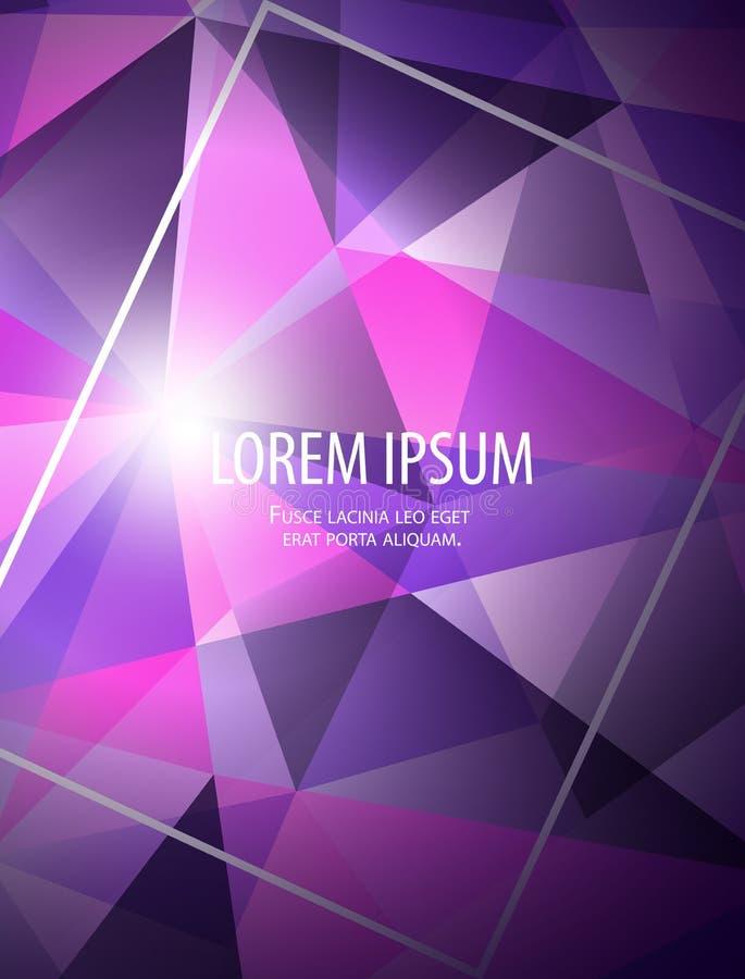 Fondo astratto moderno di affari con la struttura, le pendenze e la luce nello stile poligonale nel rosa blu luminoso d'avanguard illustrazione vettoriale