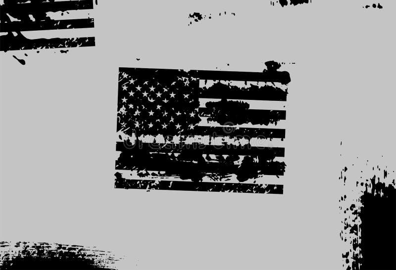Fondo astratto monocromatico di lerciume di vettore con la bandiera degli Stati Uniti illustrazione di stock