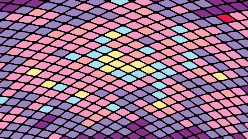 Fondo astratto multicolore dei quadrati rosa viola, rombi, mattonelle di rettangoli, mosaico con le cuciture di ardore illustrazione vettoriale