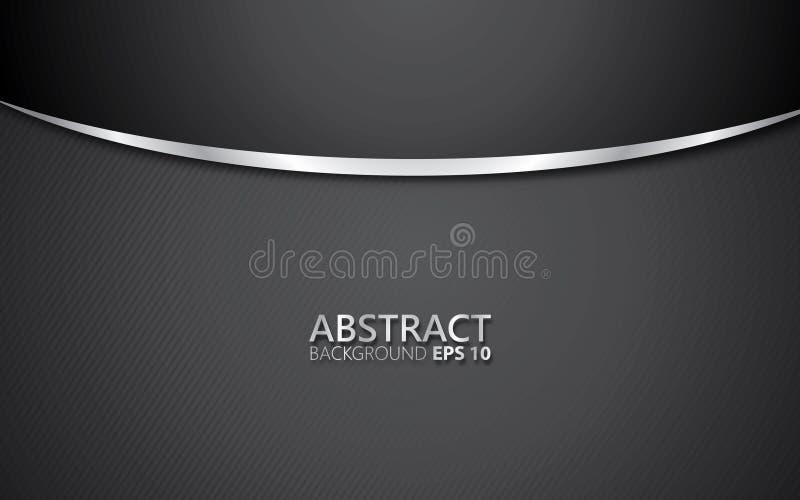Fondo astratto nero con lucido d'argento Concetto minimo illustrazione vettoriale