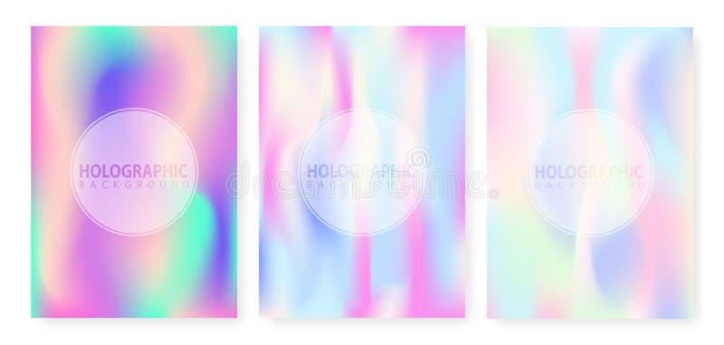 Fondo astratto olografico nella progettazione al neon pastello di colore Fondo olografico di vettore Stagnola iridescente Ologram illustrazione di stock